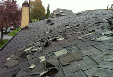 Missing Or Damaged Shingles from Wind